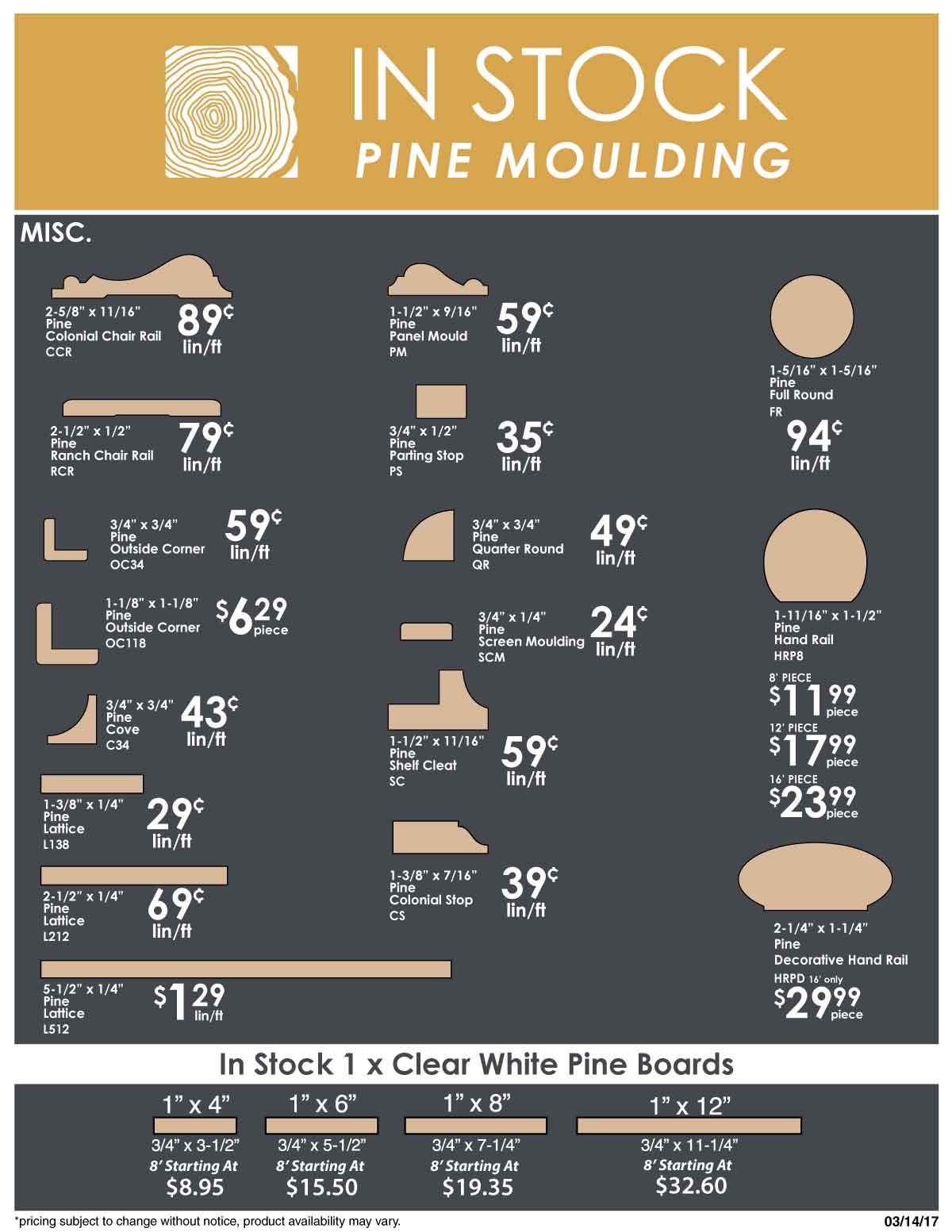 in stock pine moulding