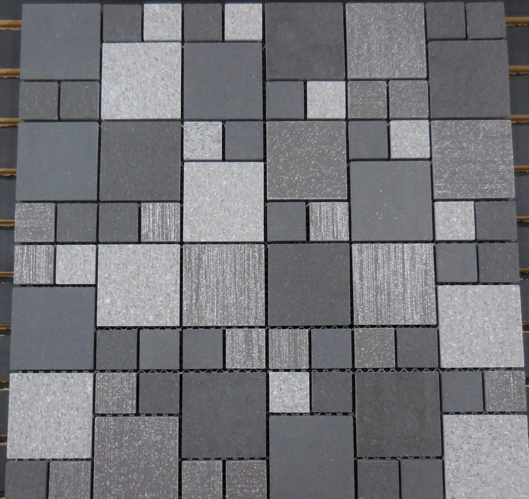 Ptm2032 Porcelain Mosaic Grey Versailles 1 Amp 2 Block
