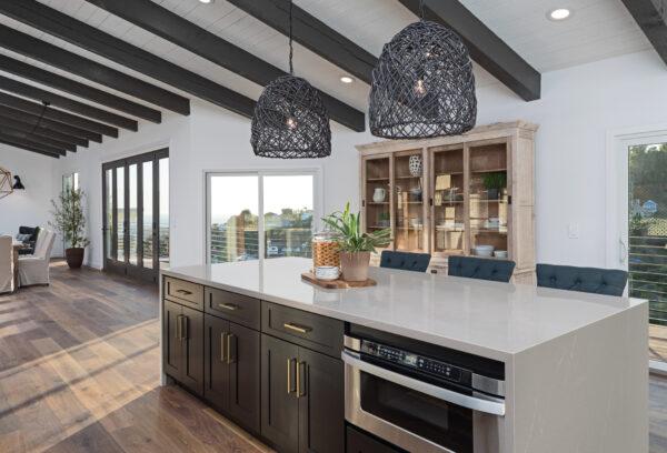Open Kitchen with Soapstone Mist Quartz Island