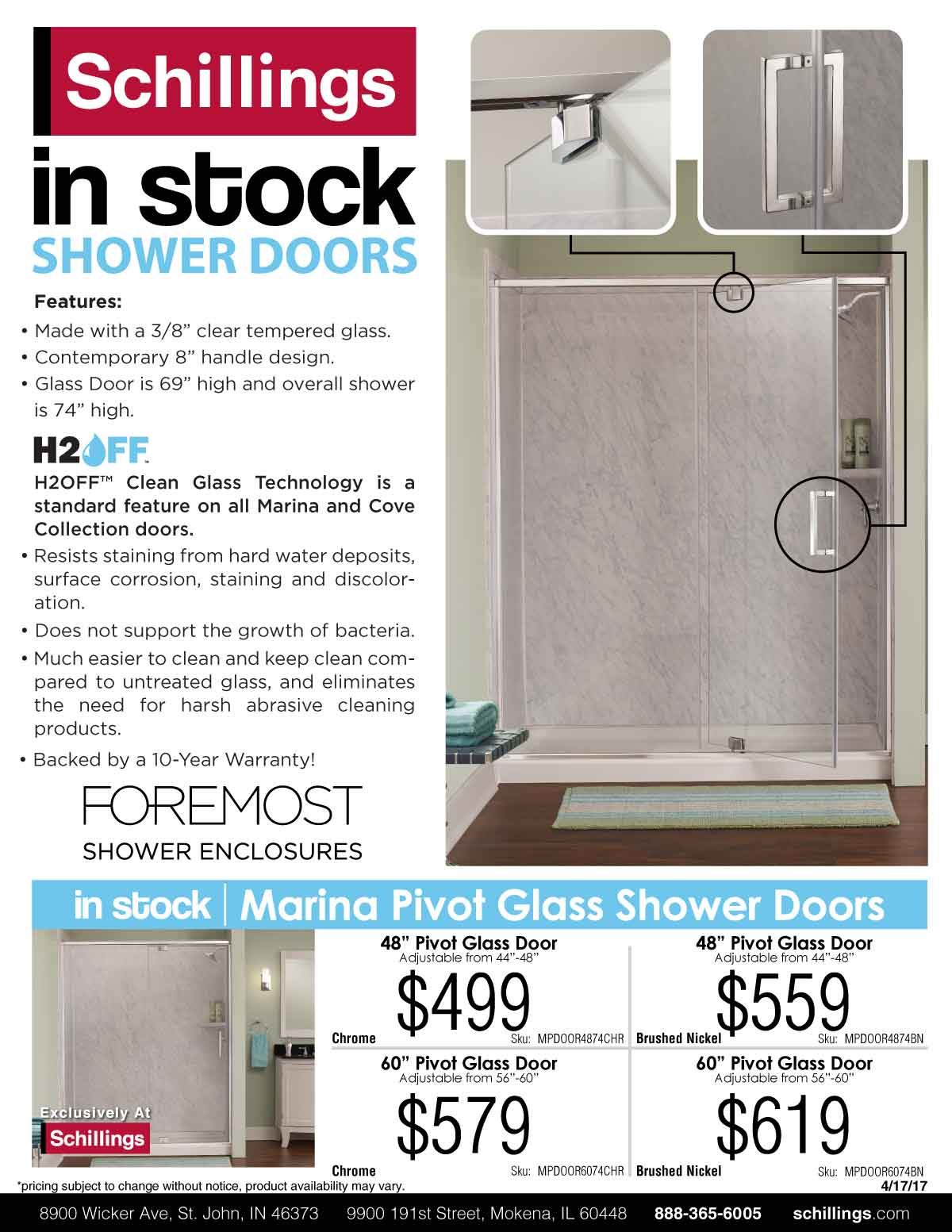 in stock shower doors