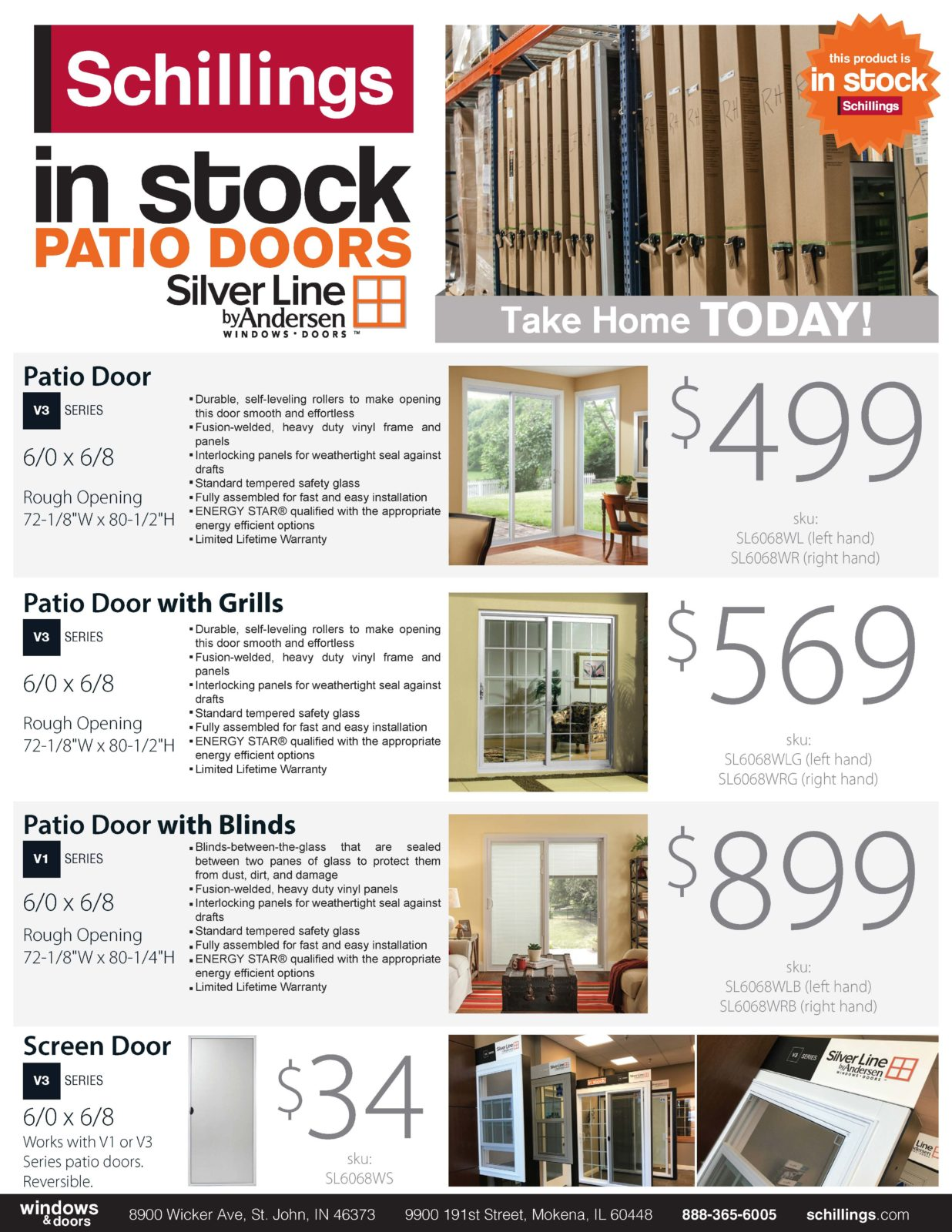 in stock patio doors