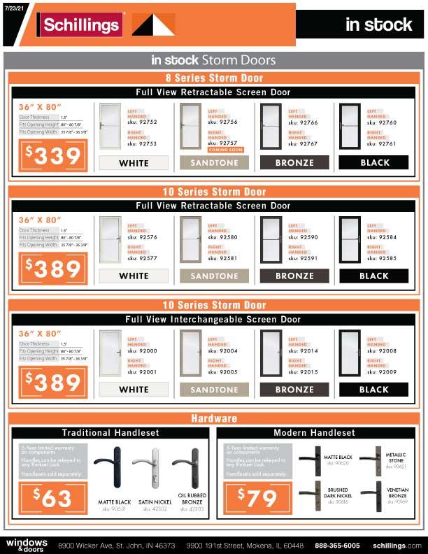 In-Stock Storm Door Product Sheet