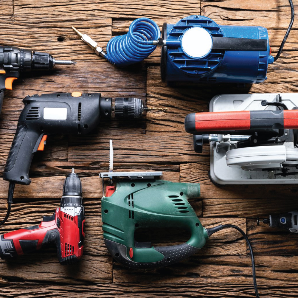 Various Power Tools on a Table