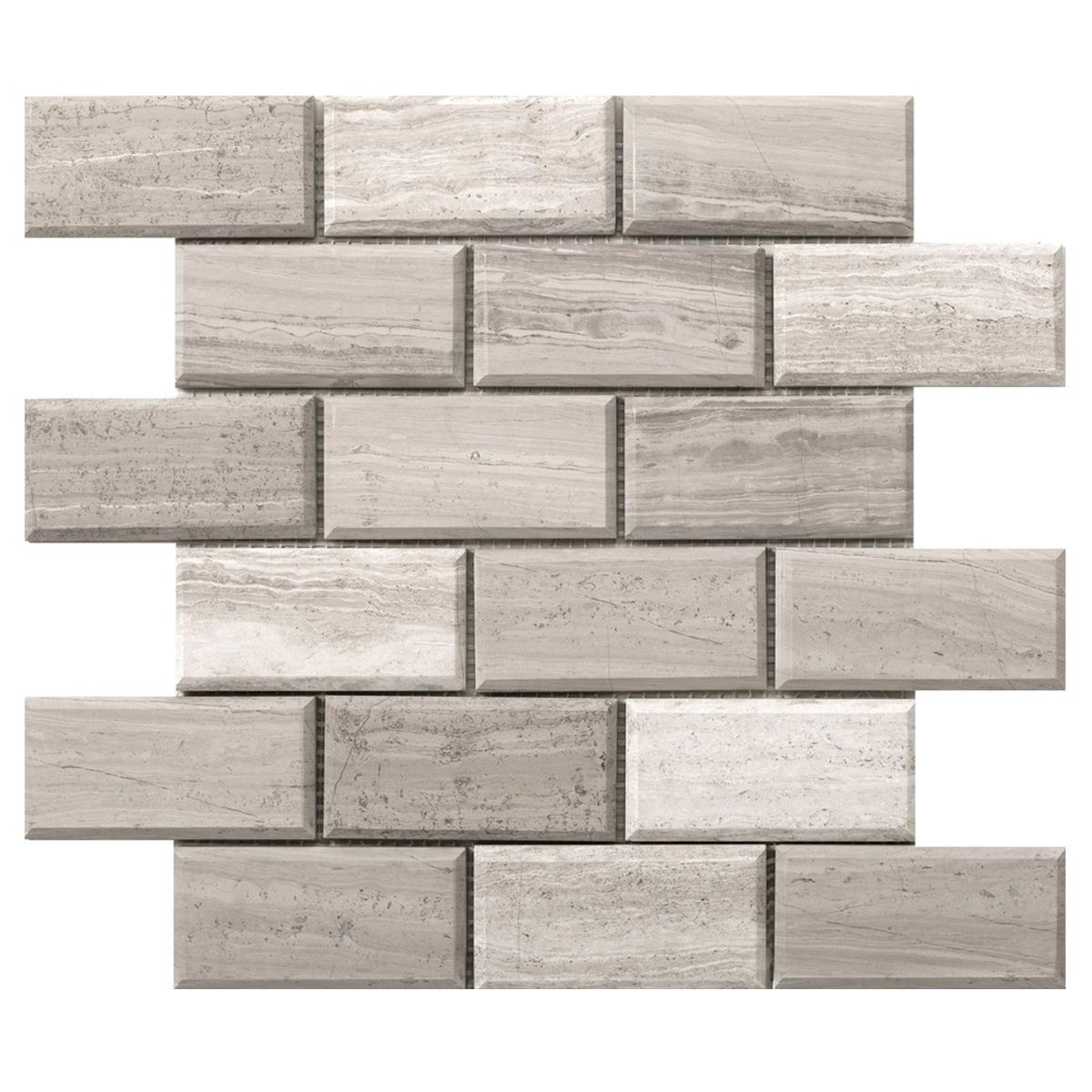 wood grey brick mosaic