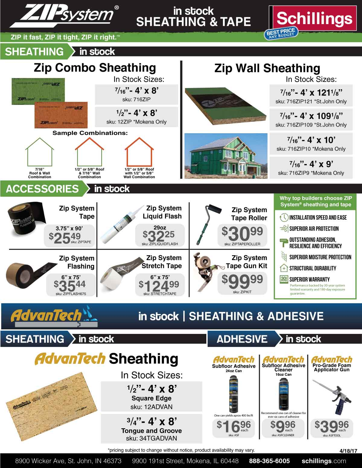 in stock zip system sheathing and tape