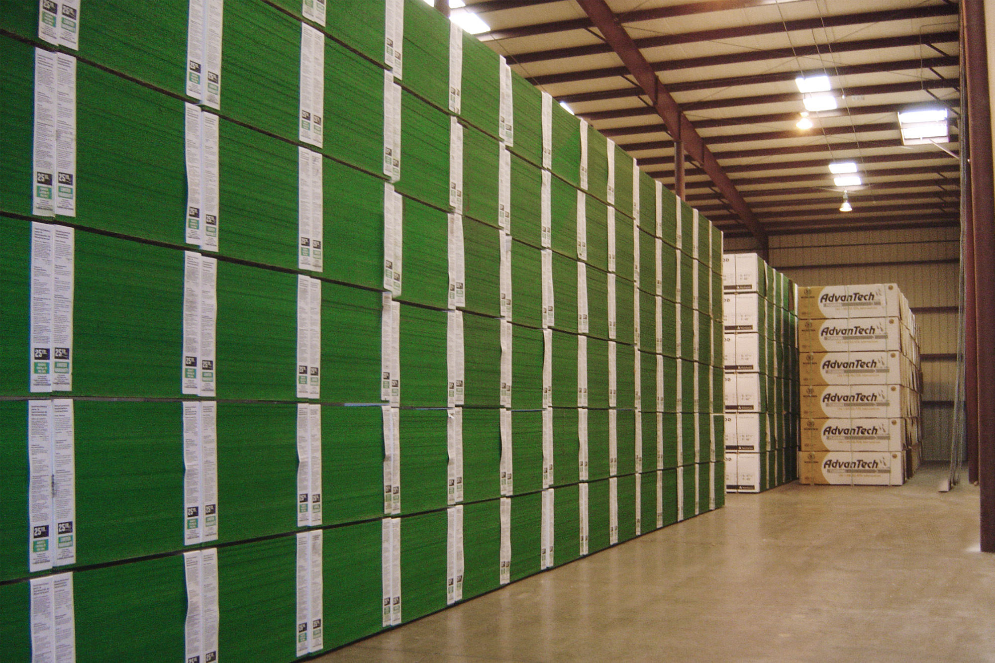 osb stacked in warehouse